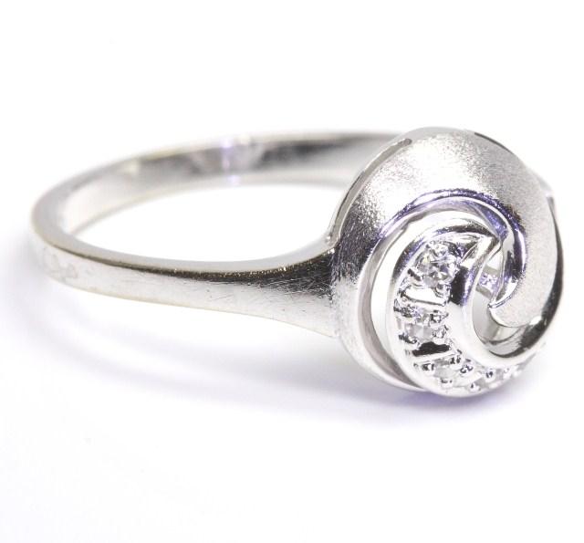 14kt 585 wei goldring diamant gold ring wei gold damen diamanten diamantring ebay. Black Bedroom Furniture Sets. Home Design Ideas